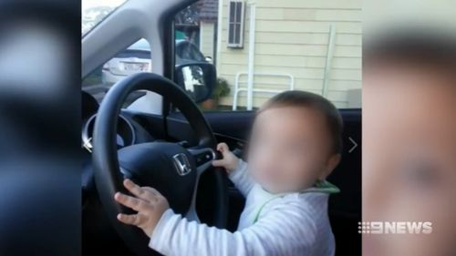 The young boy was left in the car for one hour with the air conditioning on. (9NEWS)