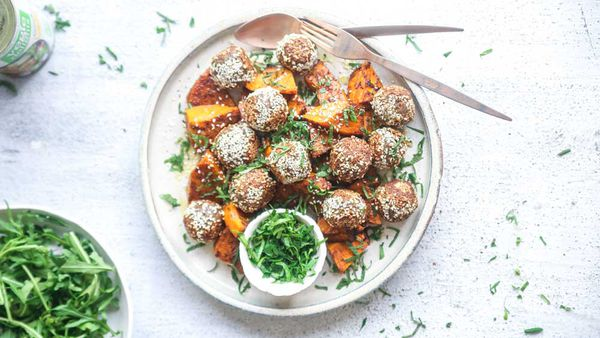 Moroccan style meatless meatballs with spiced roasted pumpkin ingredients