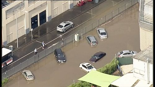 Flooding in Geelong yesterday. (9NEWS)