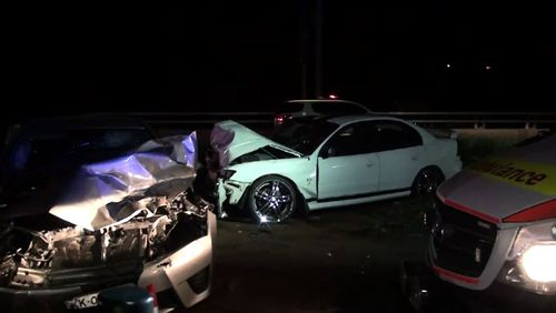 A major emergency services response was required to treat each of the six people in the two cars that were hit, while the driver of the stolen vehicle attempted to run away. Picture: 9NEWS.