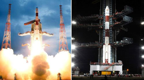 A handout picture from the Indian Space Research Organisation (ISRO) released on 23 October 2008, shows the Indian spacecraft Polar Satellite Launch Vehicle -C11 (PSLV) lifting off carrying India's first lunar probe Chandrayaan-1.