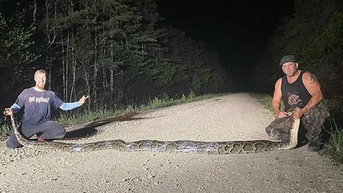 Python hunters Kevin Pavlitis, left, and Ryan Osborne own an 18-foot, 9-inch mountain snake caught as part of Florida's Python Eradication Program.
