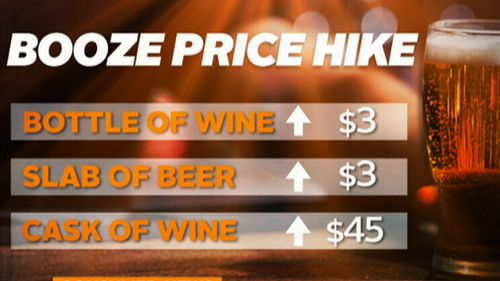 The price change is expected to be $1.50 per standard drink. (9NEWS)