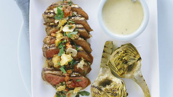 Sicilian-style steak with grilled artichokes and lemon mayonnaise