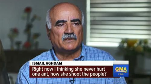 "Aghdam's father, Ismail, said he is unable to understand how she could shoot people when she could ""never hurt one ant"". Picture: ABC News."
