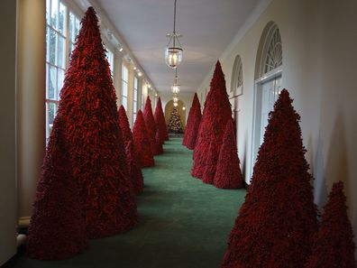 Melania Trump's red Christmas trees in the White House in 2018.