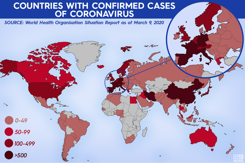 The global spread of coronavirus.