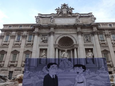 Even the cartoon comedy <I>Family Guy</I> gets an inclusion, with a scene from the 2008 film <I>Play It Again, Brian</I> set outside the Trevi Fountain in Rome, Italy. (Christopher Moloney)