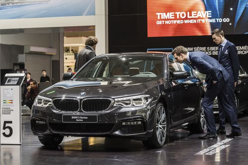 Many of the cars' lane centering systems failed, including the BMW (pictured), Model S and Volvo. Picture: AAP