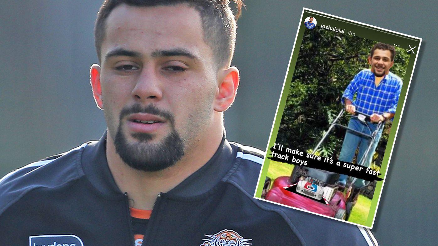 Wests Tigers star Josh Aloiai mocks club in meme after lawnmowing sledge