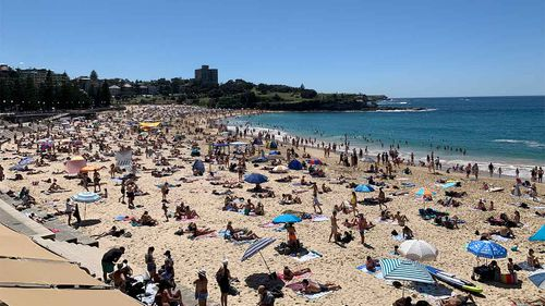 A busy but socially distanced crowd at Coogee Beach on the October long weekend.