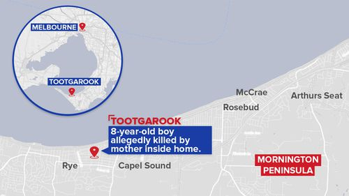 The 41-year-old was arrested after emergency services were called to their Tootgarook home and the boy was found dead.