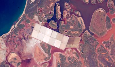 Angular ponds from Western Australia's salt extraction industry, near the coastline. Image taken June 11.