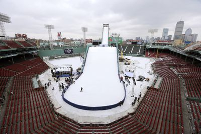 The ramps goes over Fenway's famous Green Monster and is part of the skiing and snowboarding U.S. Grand Prix tour. (AAP)