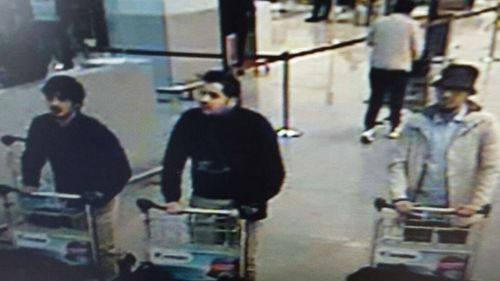CCTV footage released by Belgium police shows three men thought to be behind the airport attack. (Supplied)
