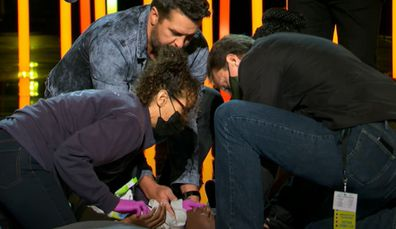 American Idol contestant passes out after performance.