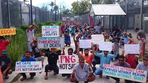 About 600 asylum seekers and refugees have barricaded themselves inside the mothballed Lombrum detention centre. (AAP)