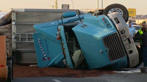 The truck rollover spilled several tonnes of woodchip on the road at Rocklea.
