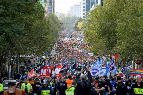 A similar rally earlier this year brought the CBD to a crawl with protesters walking along the roads.