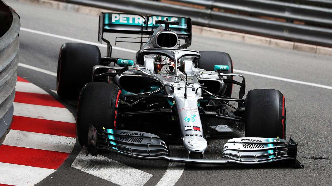 Lewis Hamilton in action during opening practice in Monaco.