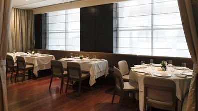 The dinning room at Ai Fiori restaurant at The Langham Hotel on 5th Avenue, NYC