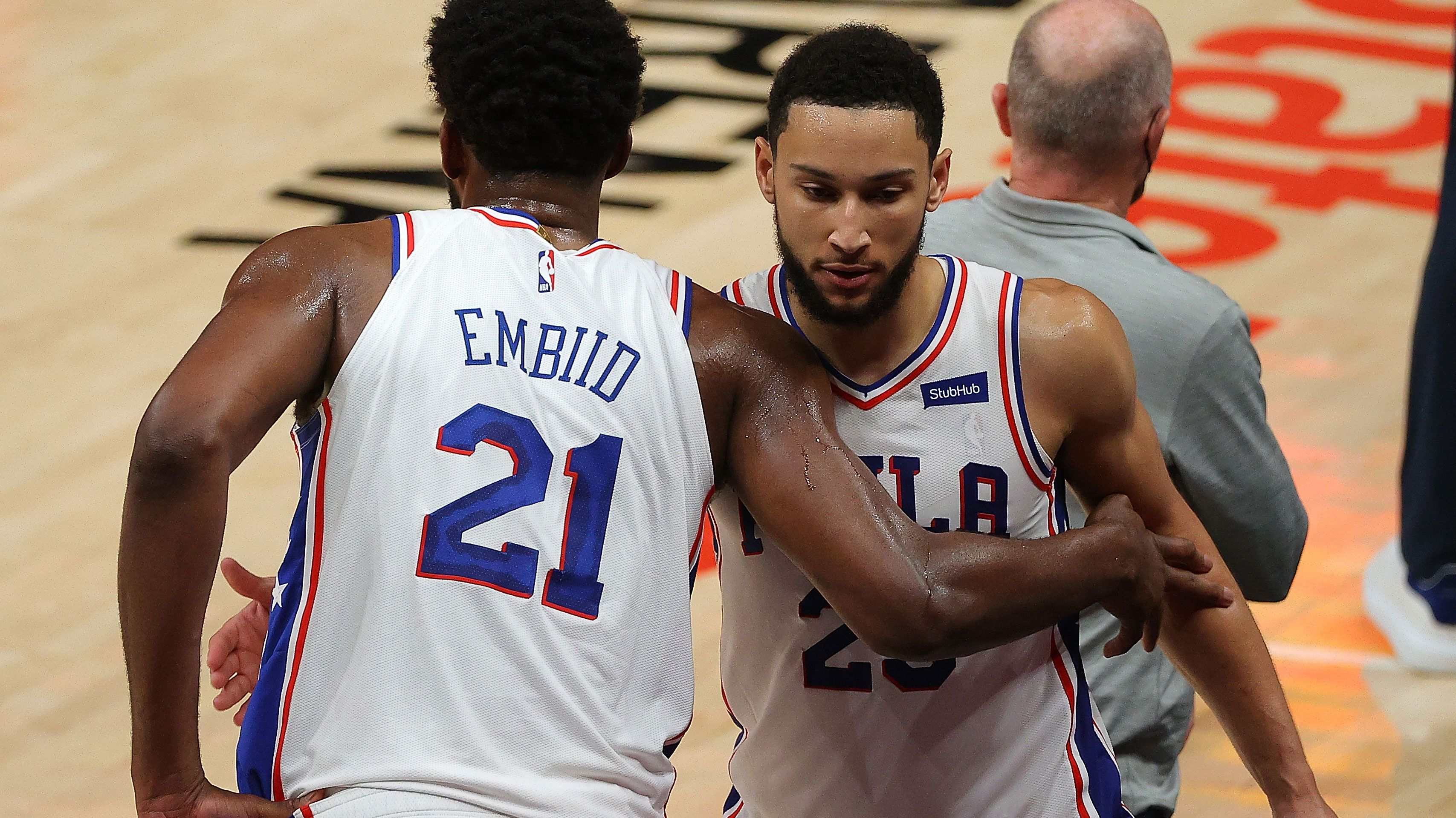 Ben Simmons (right) has been a polarising figure at the Philadelphia 76ers.