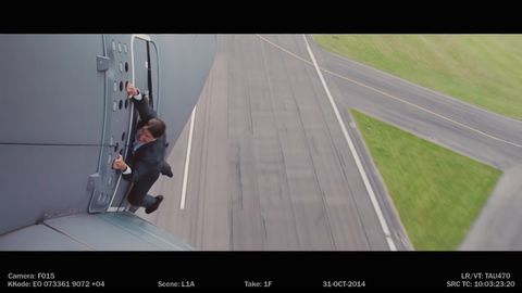 Tom Cruise hangs out of a plane
