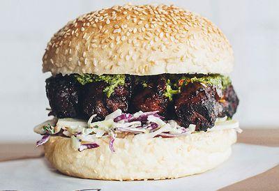 Beef rib burger with chimichurri