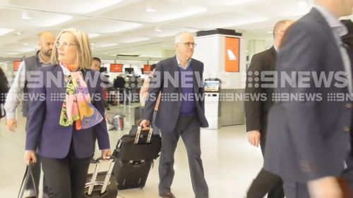 Lucy and Malcolm Turnbull at Sydney Airport.