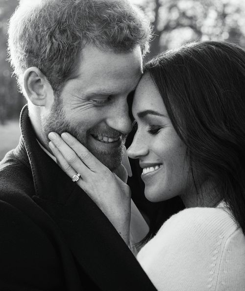 Three photos were released from the couple's engagement shoot. (Alexi Lubomirski)