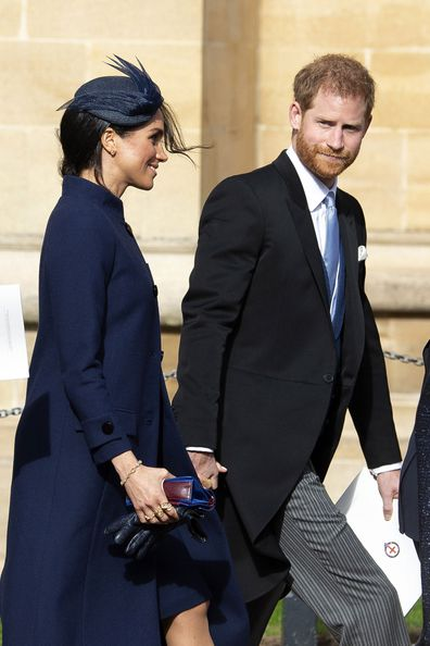 The Duke and Duchess of Sussex on Friday in Windsor, before the news she is pregnant was announced.