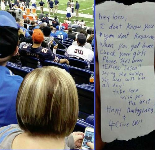US football fan spots stranger's 'cheating' texts, alerts boyfriend