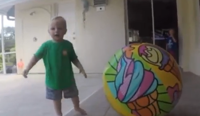 Dad saves son from drowning in pool