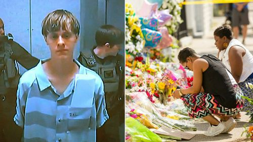 Charleston church massacre accused Dylann Roof, left, has appeared in court via video link as members of the South Carolina community mourn the dead. (AAP)