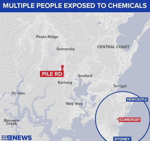 Multiple people have suffered chemical exposure at a workplace in Somersby, NSW.