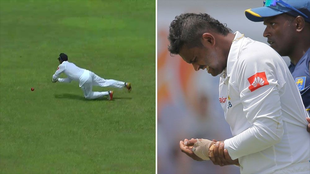 Asela Gunaratne left with a broken thumb after dropping Shikhar Dhawan in first Test.