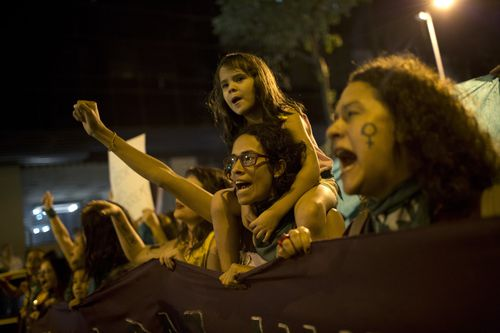 The protest also comes before the Brazilian government will debate the high-profile case of a woman who wanted an abortion because her child would emotionally and financially affect her family. Picture: AP.