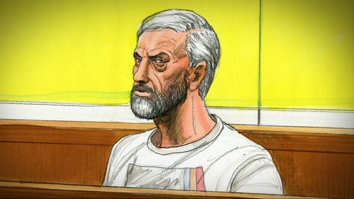 A sketch of Borce Ristevski in the courtroom.