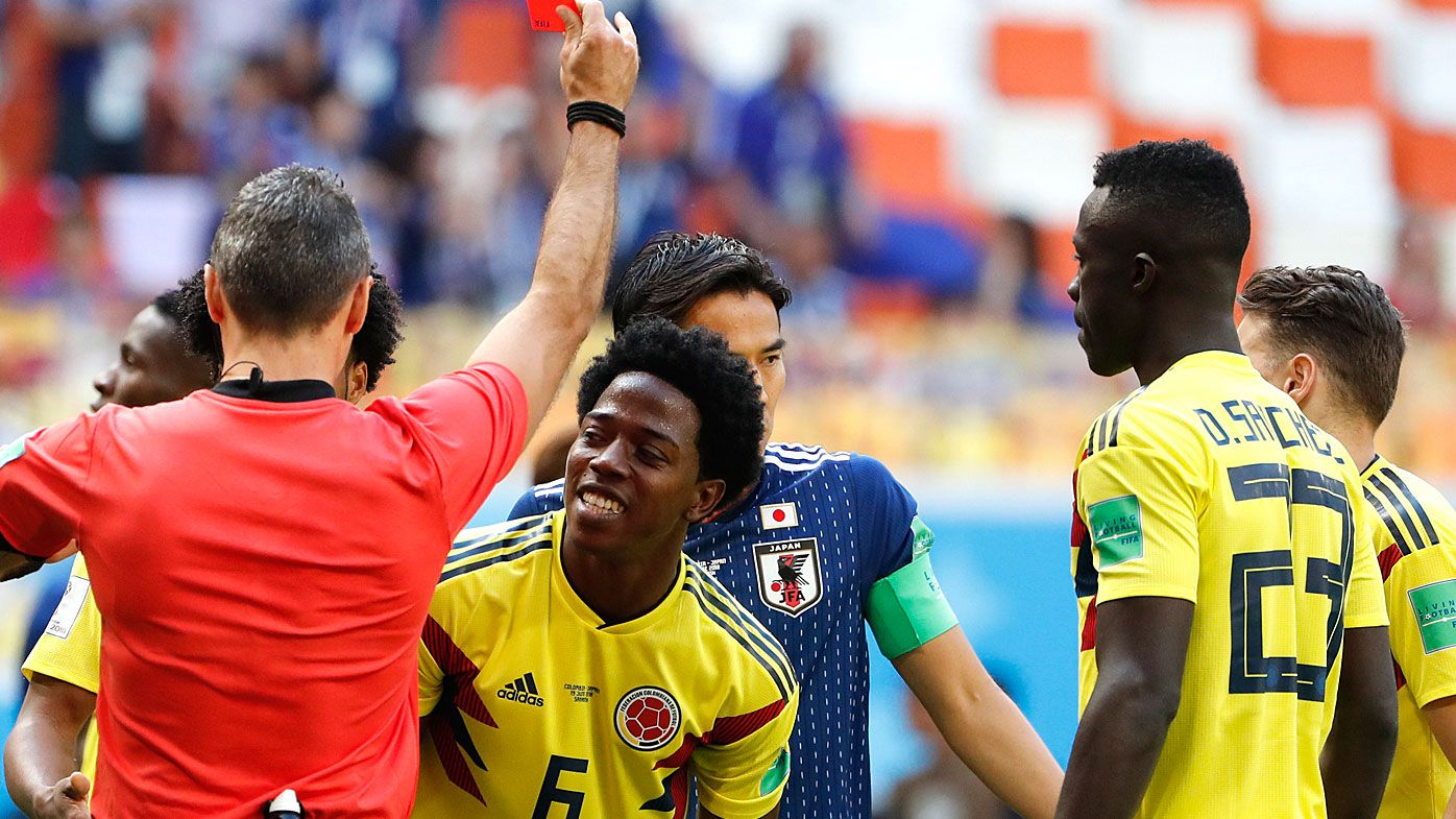 Colombia backs Carlos Sanchez after second-fastest red card in World Cup history