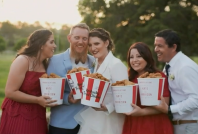 KFC supplied buckets, a food truck, a wedding cake, and a photo booth for the ceremony.
