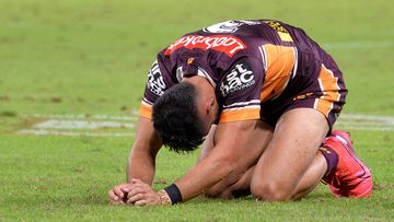 Jesse Arthars of the Broncos reacts during the round four NRL match between the Brisbane Broncos and the Sydney Roosters at Suncorp Stadium on June 04, 2020 in Brisbane, Australia.