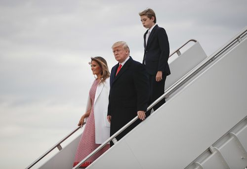 The Trumps returned to Washington after the service. (AAP)