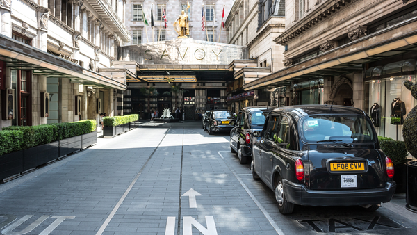 The Savoy hotel's grand main entrance as it is pictured today.