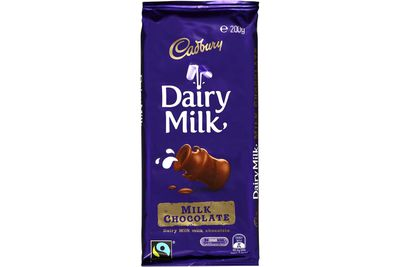 About four squares of a Cadbury's Dairy Milk block are 100 calories