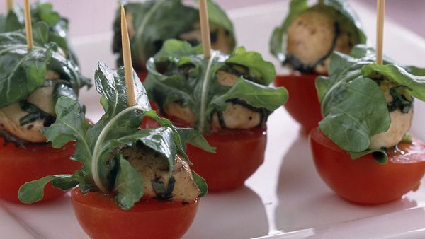 Tomato and marinated bocconcini skewers