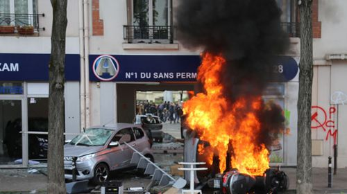 Violence marked the Paris demonstrations. (AP).
