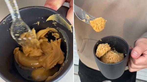 Microwave peanut butter mug cake on Instagram