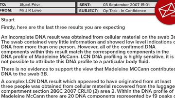 Dr John Lowe email to police about FSS DNA samples.