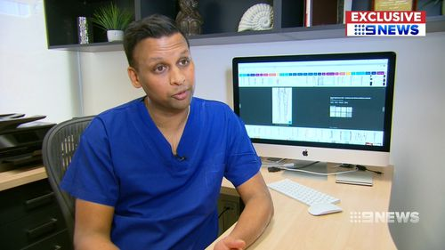 Dr Thomas turned his attention to the glue procedure over laser. Picture: 9NEWS