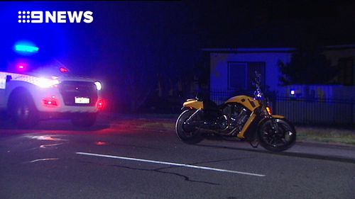 A motorcyclist in Perth's south was shot by a man believed to be leaning from the window of a car in an alleged drive-by incident.